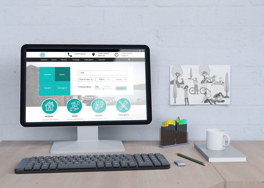 Maquette de site agence immobilière Esg communication digitale emma saint girons webdesign